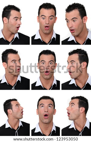 Mosaic of man with look of astonishment on his face - stock photo