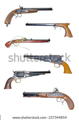 Mosaic of muzzleloading blackpowder guns. - stock photo