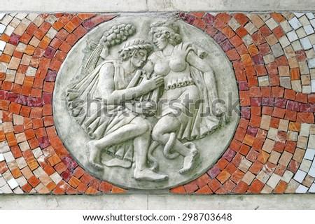 Mosaic of Orpheus and Eurydice - stock photo