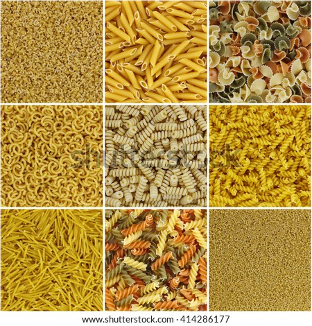 Mosaic of pasta in a collage composition