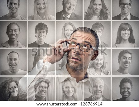mosaic of portraits - stock photo
