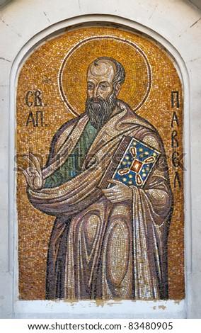 Mosaic of Saint Paul the Apostle. Orthodox church in Sevastopol Ukraine - stock photo
