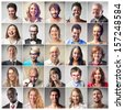 mosaic of satisfied people - stock photo