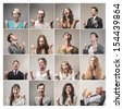 mosaic of successful people - stock photo