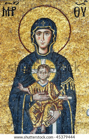 Mosaic of Virgin Mary and Jesus Christ in Hagia Sofia church, Istanbul, Turkey