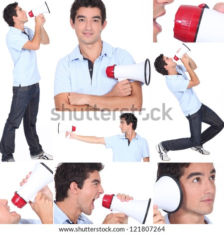 Mosaic of young man with megaphone - stock photo