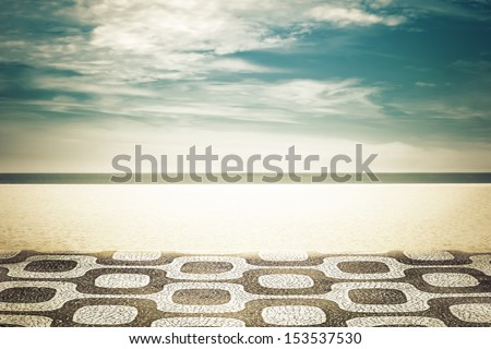 Mosaic on Ipanema Beach in Rio de Janeiro, Brazil - stock photo