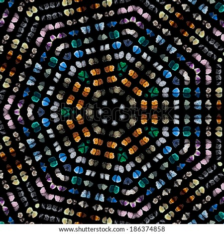Mosaic Pattern Abstract of semi-precious gemstones stones and minerals  isolated on black background - stock photo