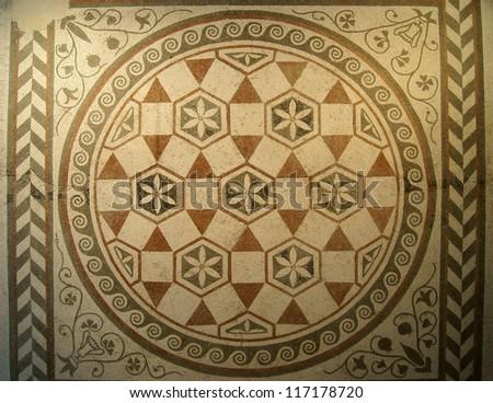 Mosaic pattern of the ancient villa - stock photo