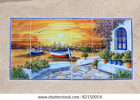 mosaic scenery on a wall - stock photo