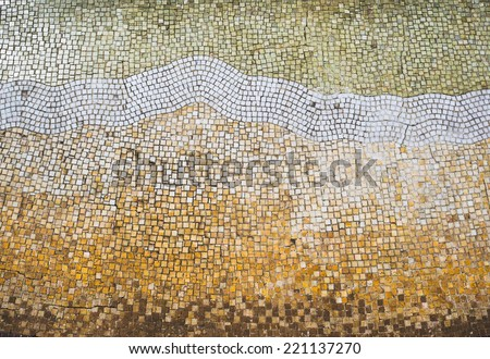Mosaic tile background. Mosaic floor in antique style.  - stock photo