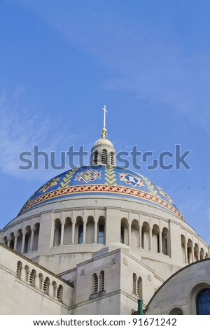 Mosaic tiled Dome of Basilica of the National Shrine of the Immaculate Conception in Washington, DC - stock photo