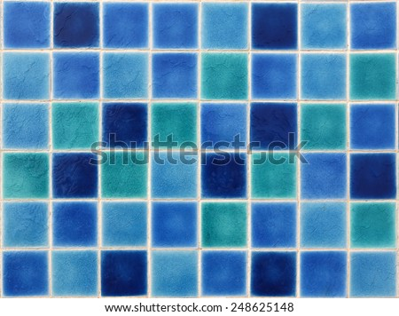 mosaic tiles of swimming pool water  - stock photo