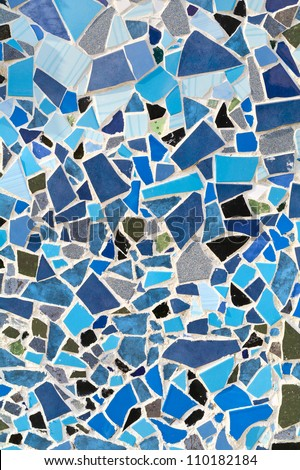 mosaic wall decorative ornament from ceramic broken tile - stock photo
