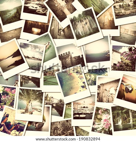mosaic with pictures of different places and landscapes, snapshots uploaded to social networking services - stock photo