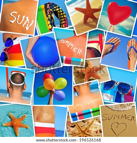 mosaic with pictures of different summer scenes, shot by myself - stock photo