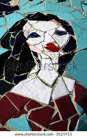 Mosaic woman - stock photo
