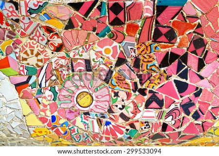 Mosaic work on the main terrace at Park Guell, Barcelona, Spain. - stock photo