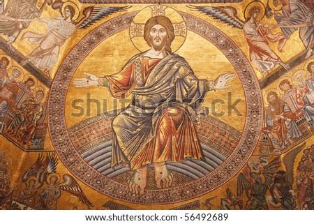 Mosaics in Baptistery of St. John in Firence, Italy - stock photo