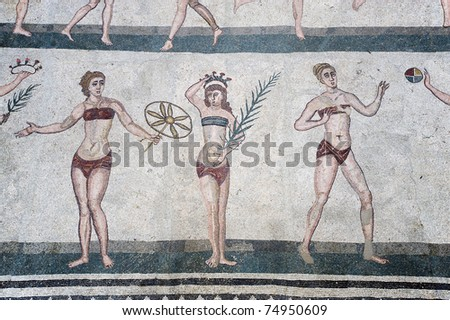 mosaics of the Casale Roman Villa in the Piazza Armerina, Sicily, italy