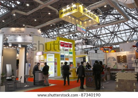 MOSCOW-APRIL 4: A booth from a Austrian company which produces building materials is on display at the international exhibition Mosbuild 2011 on April 4, 2011 in Moscow, Russia.