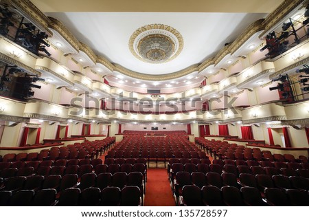 MOSCOW - APRIL 23: Auditorium of Large stage in Vakhtangov Theatre on April 23, 2012 in Moscow, Russia. Light and sound systems of Vakhtangov Theatre are one of best in Russia.