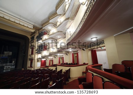 MOSCOW - APRIL 23: Balconies with lighting in auditorium in Vakhtangov Theatre on April 23, 2012 in Moscow, Russia. Auditorium of Large stage of theater accommodates 1055 people.