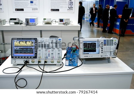 MOSCOW - APRIL 19: Digital oscillograph at the international exhibition of  electronic industry ExpoElectronica, ElectronTechExpo, LEDTechExpo on April 19, 2011 in Moscow