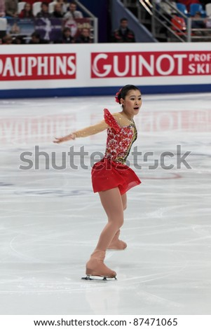 """MOSCOW - APRIL 30: Kanako Murakami competes in the single ladies free figure skating event at the 2011 World championship on April 30, 2011 at the Palace of sports """"Megasport"""" in Moscow, Russia. - stock photo"""