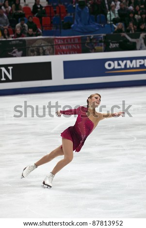 """MOSCOW - APRIL 30: Ksenia Makarova competes in the single ladies free figure skating event at the 2011 World championship on April 30, 2011 at the Palace of sports """"Megasport"""" in Moscow, Russia. - stock photo"""