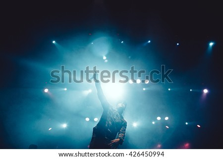 MOSCOW - 27 APRIL, 2016 : Live concert of Russian hip hop band Krec from Saint-Peterburgh in Yotaspace nightclub - stock photo
