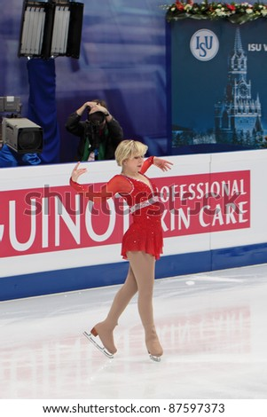"""MOSCOW - APRIL 30: Rachael Flatt competes in the single ladies free figure skating event at the 2011 World championship on April 30, 2011 at the Palace of sports """"Megasport"""" in Moscow, Russia. - stock photo"""