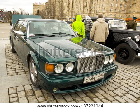 MOSCOW - APRIL 21: retro car Bentley on rally of classical cars on Poklonnaya hill,  April 21, 2013, in town Moscow, Russia.