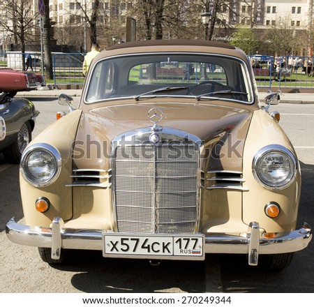 MOSCOW - APRIL 27, 2014: retro car mercedes benz on rally of classical cars, organized by Russian Club of Classical Autocars on Theatre square.  - stock photo