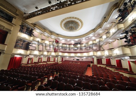 MOSCOW - APRIL 23: View from stage t o auditorium of Large stage in Vakhtangov Theatre on April 23, 2012 in Moscow, Russia. Light and sound systems of Vakhtangov Theatre are one of best in Russia. - stock photo