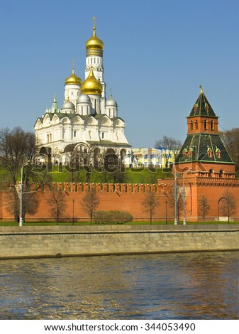 Moscow, Archangel cathedral and bell tower of Ivan the Great in Moscow Kremlin fortress. - stock photo
