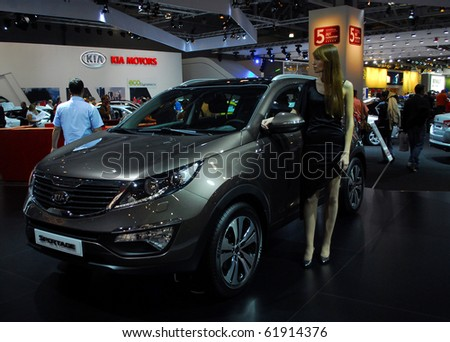 MOSCOW - AUG 26: KIA Sportage at Moscow international motor show 2010 on August 26, 2010 in Moscow, Russia.