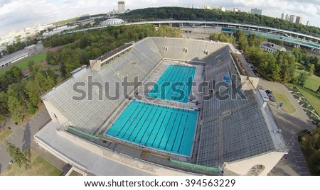 moscow aug 16 2014 outdoor swimming pool at the olympic complex luzhniki - Olympic Swimming Pool 2014