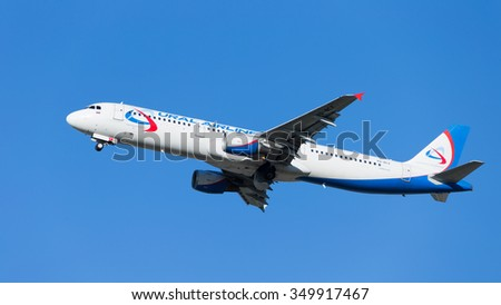 Moscow - August 20, 2015: Big passenger aircraft Airbus A321 Ural Airlines flies to Domodedovo airport and on the background of blue sky August 20, 2015, Moscow, Russia