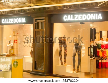 MOSCOW - AUGUST 11: Calzedonia shop in shopping center near Red Square, Moscow, Russia, 11 August, 2014. Calzedonia is an Italian brand with 1,650 shops and 23,000 employees worldwide. - stock photo
