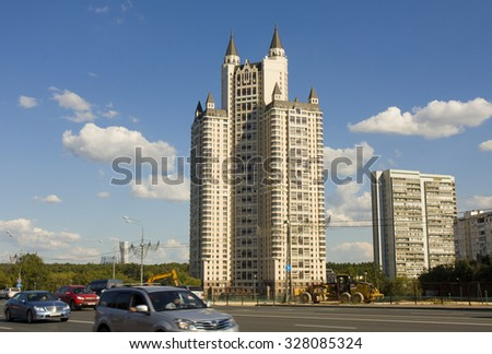 "MOSCOW - AUGUST 17, 2013: modern complex ""Edelweiss"" on crossroad of Kutuzovsky prospectus and Minskaya street, has been built in 2003 year. - stock photo"