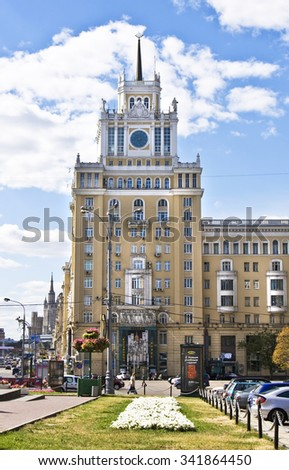 MOSCOW - AUGUST 21, 2010: skyscraper on Triumphalnaya square, has been built in 1911 year. - stock photo