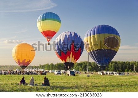 "MOSCOW - AUGUST 24: The first festival of Aeronautics ""Moscow Sky"" in Moscow on August 24, 2014 in Moscow, Russia"