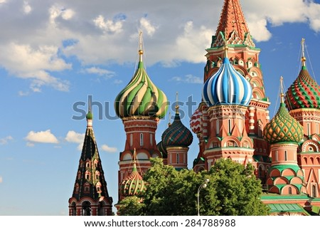moscow bright famous orthodox russian cathedral red square - stock photo