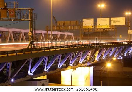 Moscow City bridge at night, Russia    - stock photo