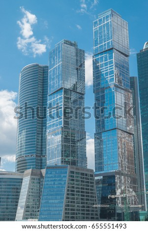 Moscow City - Moscow International Business Center at day. Skyscraper Business Office, Corporate Building In Moscow, Russia