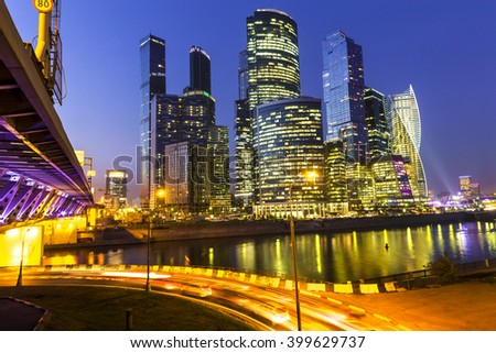 Moscow City - Moscow International Business Center at night, Russia