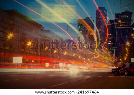 """Moscow city night landscape, Dorogomilovskaya street and skyscrapers of """"Moscow-City"""" business district, 22.05.2014, instagram image style, editorial use only - stock photo"""
