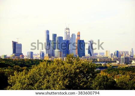 Moscow City skyline - stock photo