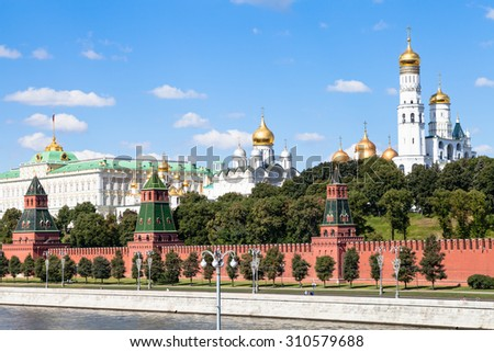 Moscow cityscape - Ivan the Great Bell Tower with Assumption Belfry, The Cathedral of the Archangel, State Palace in Moscow Kremlin, Russia in summer day - stock photo